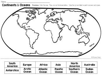 Label the Continents and Oceans: Cut and Paste