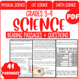 Science Reading Comprehension Passages & Questions   Bundle   Grade 3-4