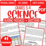 Science Reading Comprehension Passages & Questions | Bundle | Grade 3-4