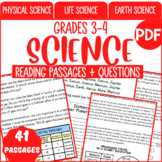 Science Reading Comprehension Passages & Questions Grade 3-4 (PDF)