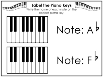 Label the Keys Worksheets. Beginning Piano Music. Preschool-2nd Grade.