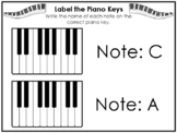 Label the Keys Worksheets. Beginning Piano Music. Preschoo