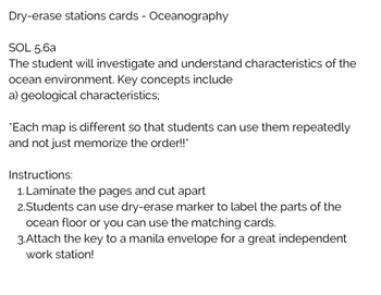 Label the Ocean Floor Station Cards VA SOL5.6a