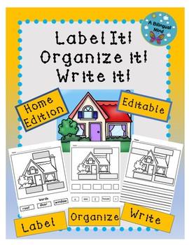 Label the Picture, Organize & Write Sentences-Editable