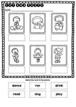 Label the Pictures Worksheets | Action Verbs | Freebie
