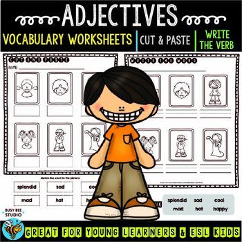 Label the Pictures Worksheets | Adjectives