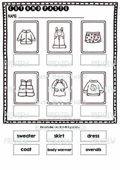 Label the Pictures Worksheets   Clothes
