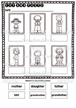 Label the Pictures Worksheets | Family Members