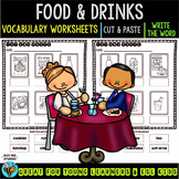 Label the Pictures Worksheets | Food and Drinks