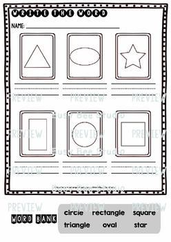 Label the Pictures Worksheets | Shapes