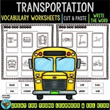 Label the Pictures Worksheets | Transportation