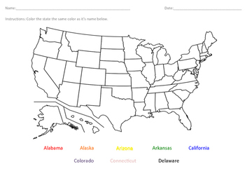 Label the States- Alabama- Delaware (alphabetically)