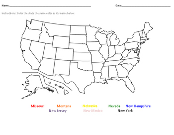 Label the States- Missouri-New York(alphabetically)