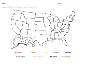 Label the States- Tennessee- Wyoming(alphabetically)