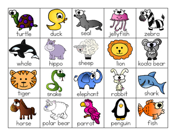 Labeled Animal Chart with Pictures