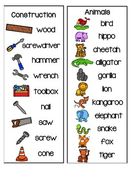 Labeled Pictures for Spelling/Writing Center