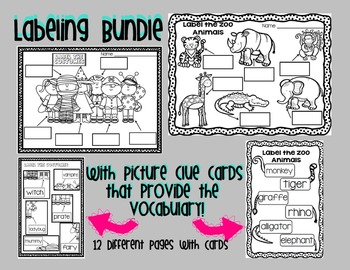 Labeling Bundle with Picture Clue Vocabulary Cards