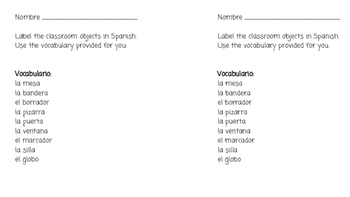 Labeling Classroom Objects: Spanish