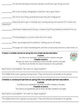 Labeling Complex and Compound Sentences