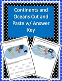 Labeling Continents and Oceans Cut and Paste w/ Answer Key