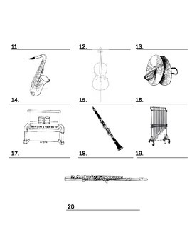 Labeling Instruments and Their Families Worksheet