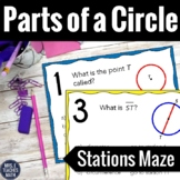 Parts of a Circle Stations Maze Activity