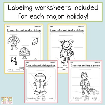 Labeling Worksheets & Sample -Perfect for Writing Center-includes Major Holidays