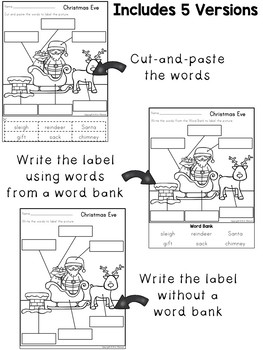Labeling Worksheets and Writing Prompts ~ Christmas Eve Scene