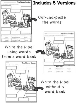 Labeling Worksheets and Writing Prompts ~ Spring Themed