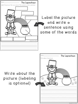 Labeling Worksheets and Writing Prompts ~ The Leprechaun