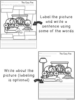Labeling Worksheets and Writing Prompts ~ Winter Themed