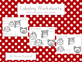 Labelling Worksheets (3 levels)