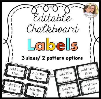 Editable Labels Chalkboard Theme Back to School Classroom Decor
