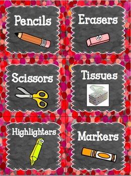 Editable Classroom Labels RED CONFETTI