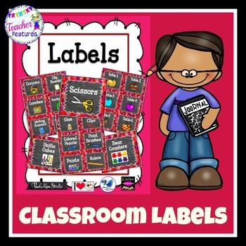 Classroom Labels: Red Confetti