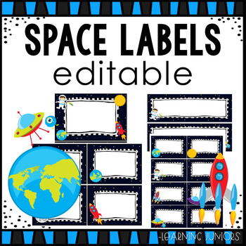 Space Themed Editable Classroom Labels