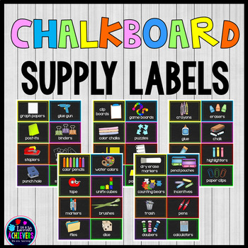 Classroom Supply Labels - Chalkboard