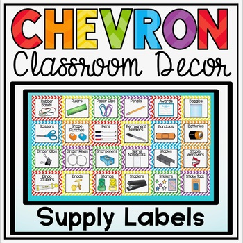 Classroom Supply Labels {Primary Colors Chevron Classroom