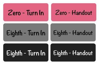 Turn-in Bin Labels, First Period Prep