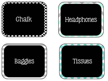 Labels - Around the Room! {Turquoise, Black, & Grey} {EDITABLE, TOO!}