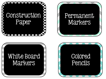 Labels - Around the Room! {Turquoise, Black, & Grey} {EDIT
