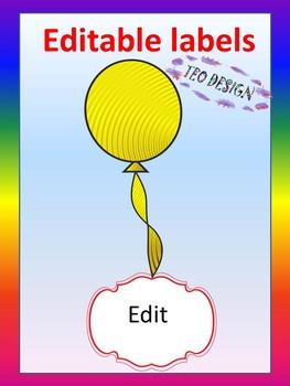 Editable Labels - Balloon Theme - Back to School Activity