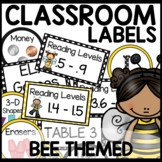 Bee Themed Classroom Decor Labels