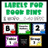 Labels for Books, Bins and More (Editable):  Cute Birds