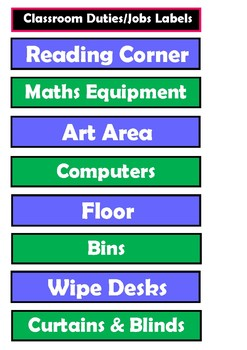 Labels - Classroom Duties and Jobs (suitable for State and Catholic Schools)