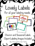 Classroom Labels, Organization, Chevron and Seasonal Borders, Label Images