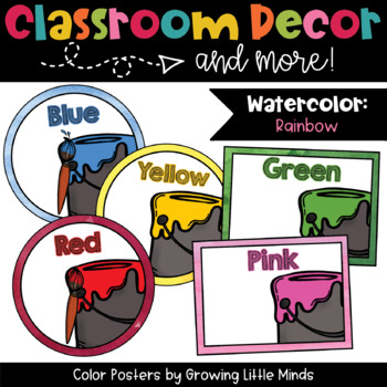 Labels: Color Posters- Rainbow Watercolor classroom decor