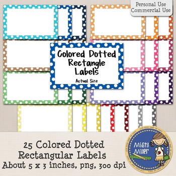 Labels - Colored Dotted Rectangles