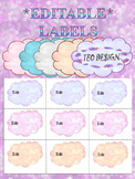 Clouds - Labels (Editable) - name tags - task cards