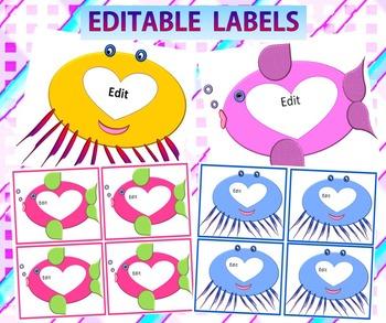 Classroom Decor - Labels Editable - Fish Theme - Back to S